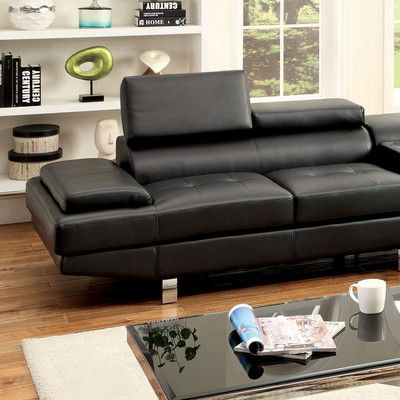 Hokku Designs Dymitri Right Hand Facing Sectional Upholstery: Black