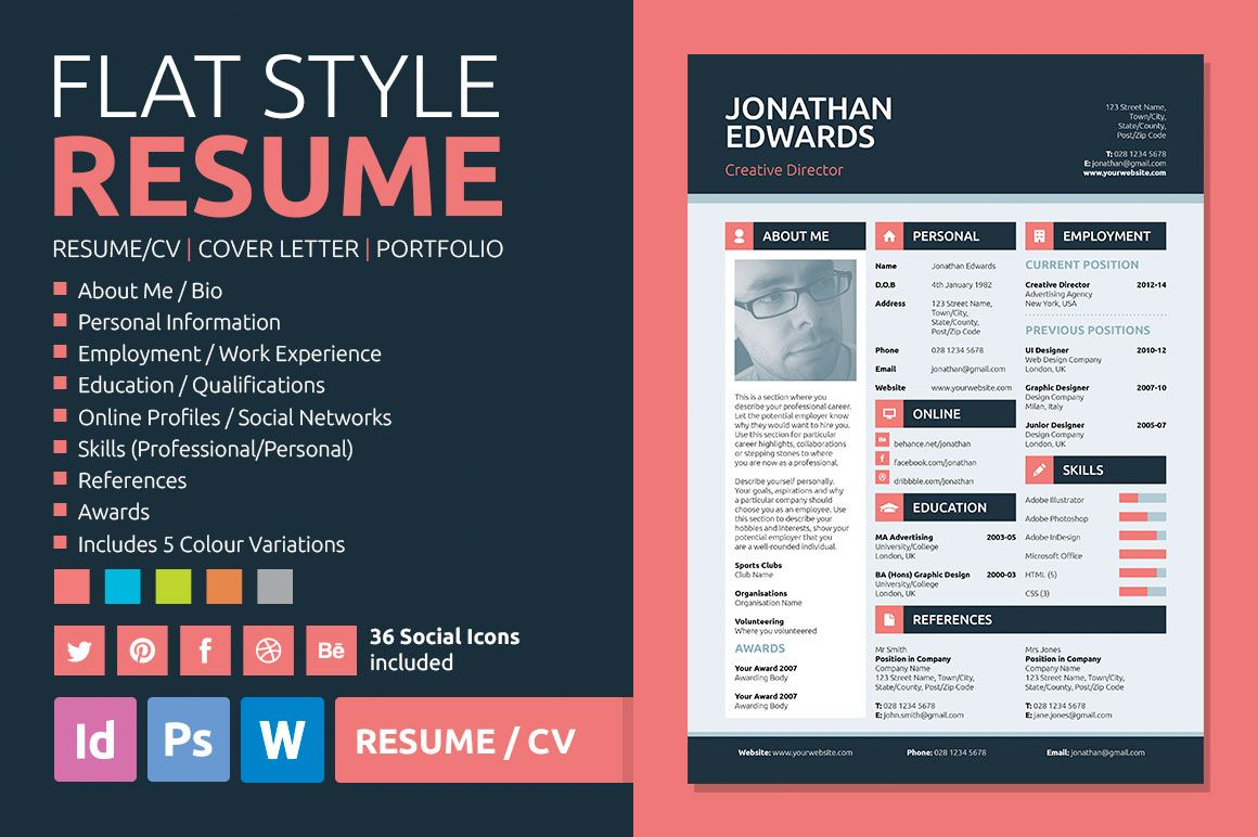 Flat Style Resume Flat Style Cv Cover Letter And Resume Cv
