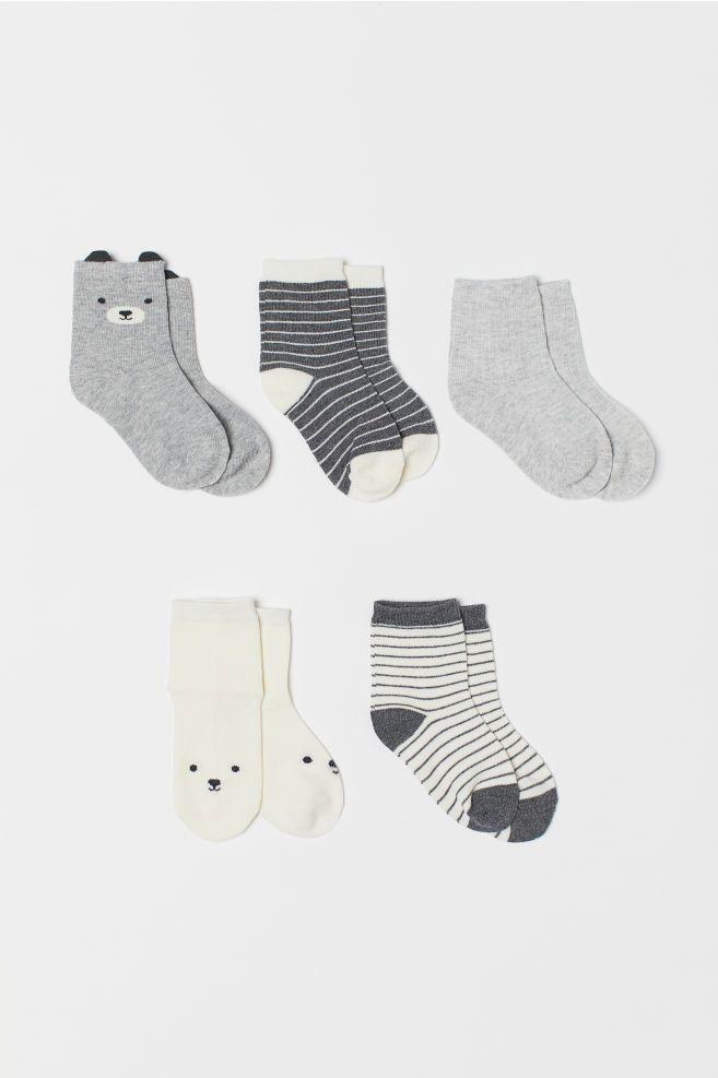abca390a25 5-pack Socks - Gray melange bear - Kids