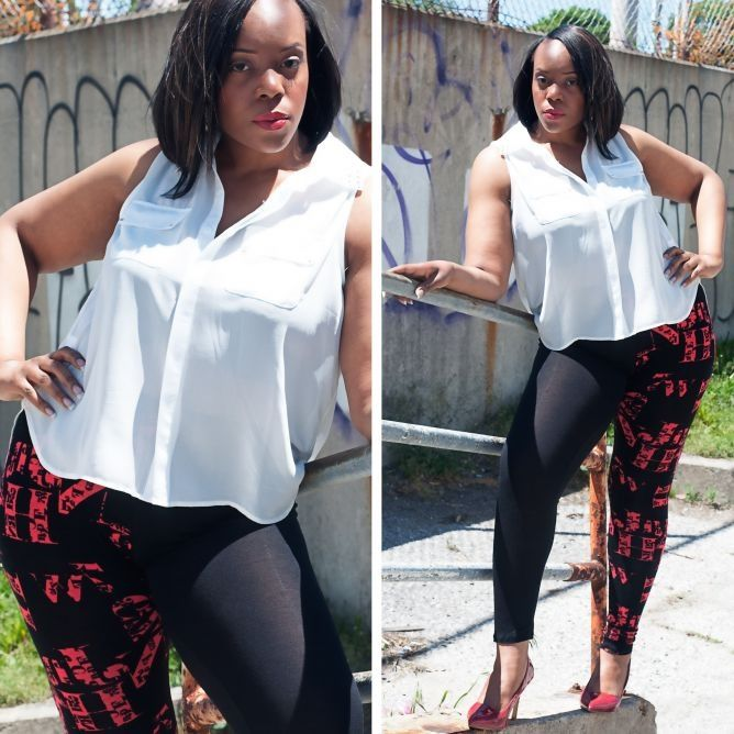 these unique plus size leggings paired with this sleeveless white