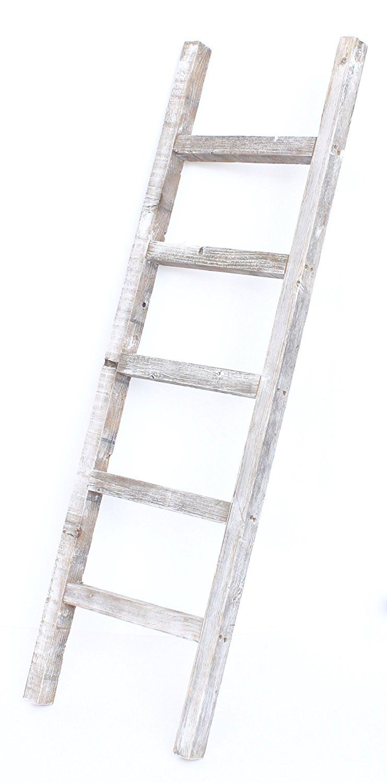 Barnwoodusa rustic ft decorative ladder reclaimed wood