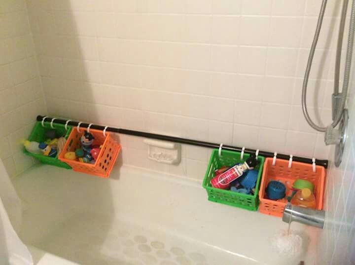 Finally A Way To Store Toys In Our Slate Tile Shower Where
