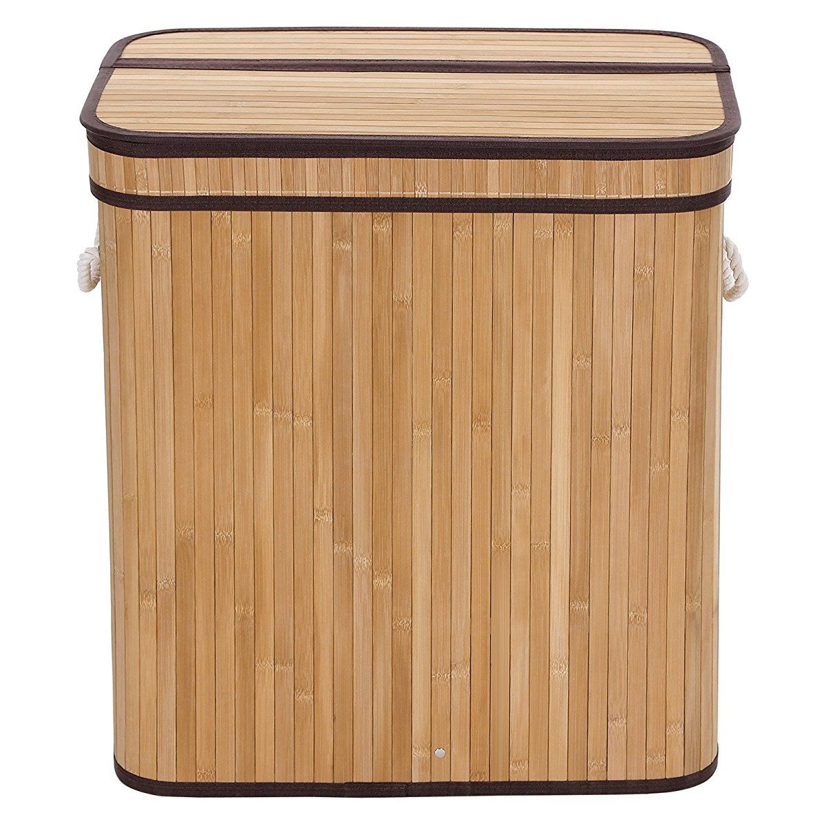 Songmics Laundry Hamper Basket Double Clothes Storage Natural