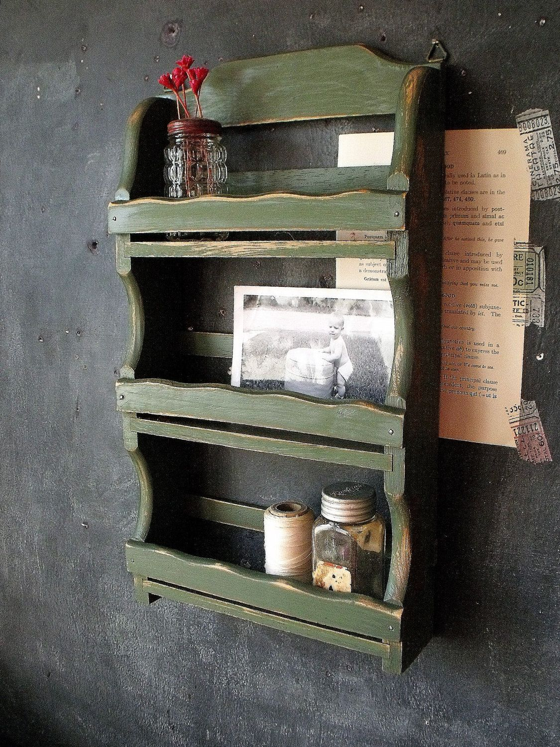 Vintage Wooden Olive Green Spice Rack By Therhubarbstudio On Etsy