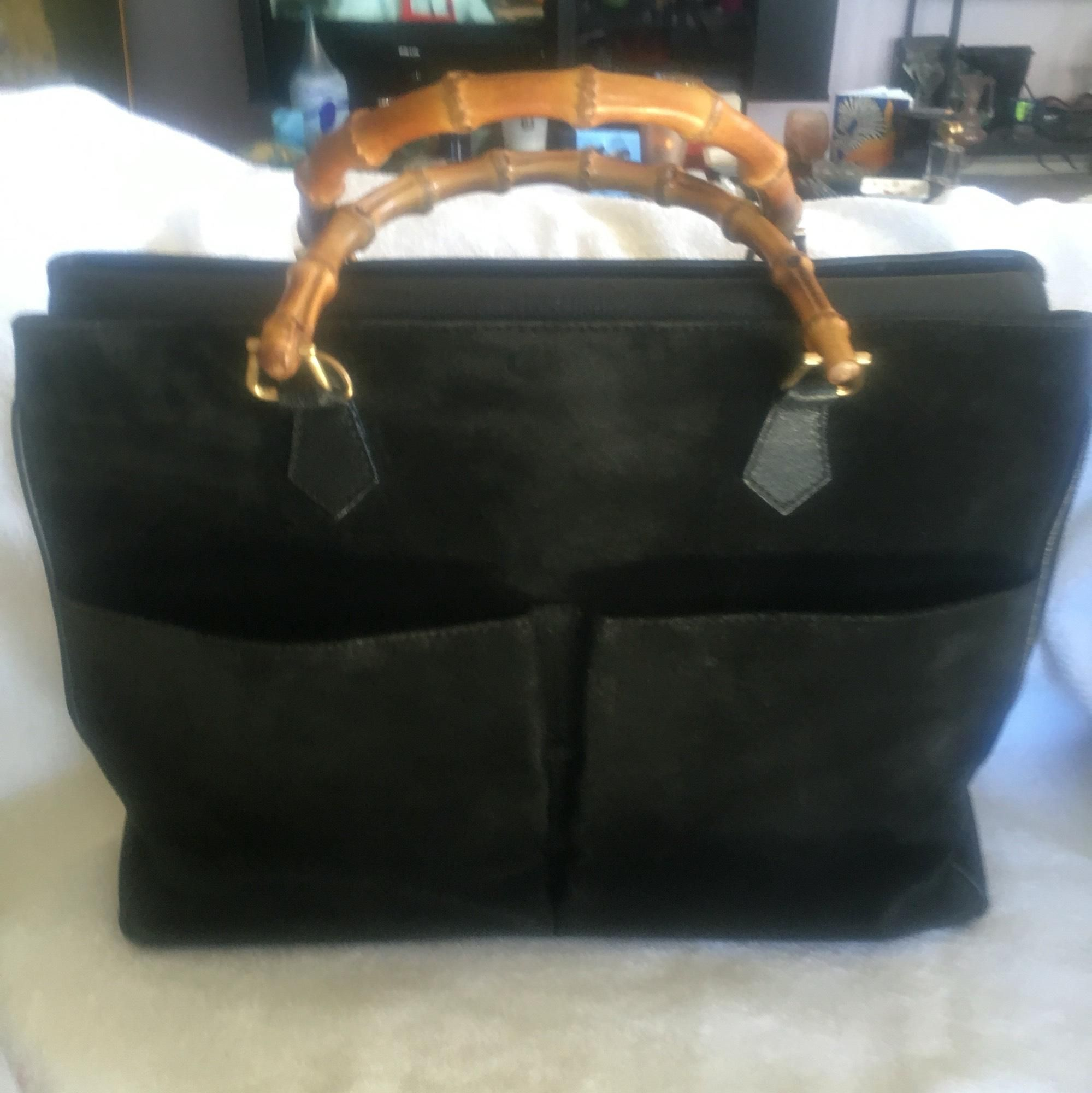 b0e0638da50 Gucci Bamboo Handle 2way Hand Vintage Black Tote Bag.