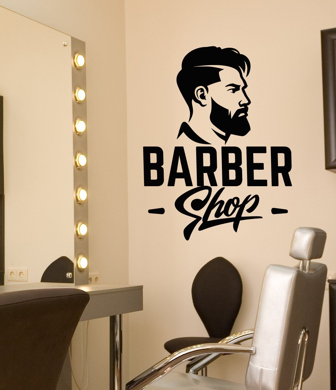 Vinyl Wall Decal Barbershop Logo Signboard Men S Haircut Stickers 3224ig Barber Shop Vinyl Wall Decals Haircuts For Men