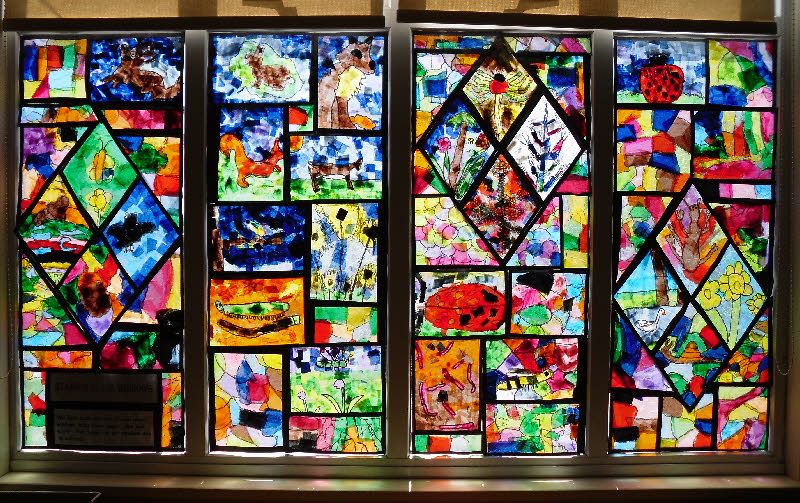 Stained Glass Window From Amy And Heather Classroom Window Display Stained Glass Diy Classroom Decorations