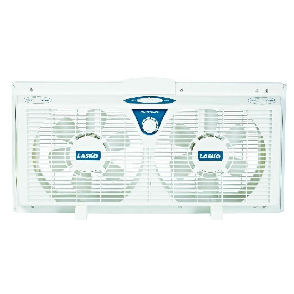 Lasko 8 in electrically reversible twin window fan with