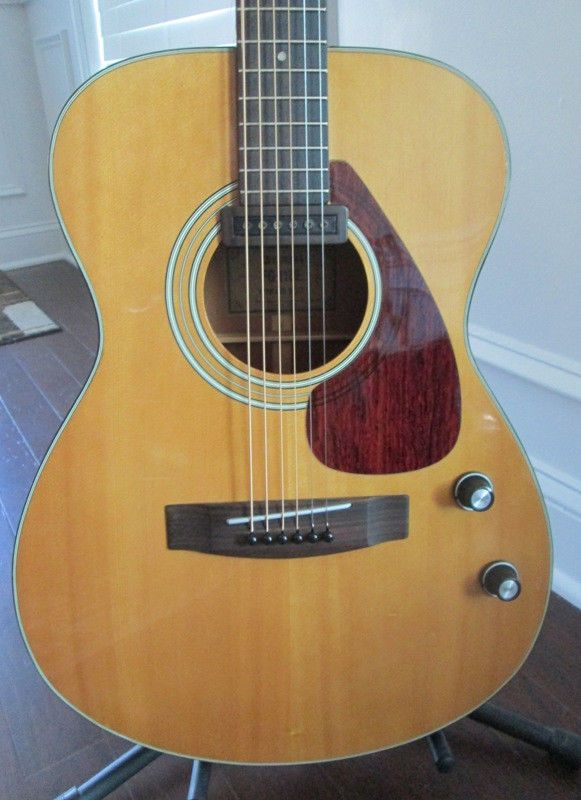 vintage 1976 yamaha fg 110e acoustic electric guitar all original with case the coolest. Black Bedroom Furniture Sets. Home Design Ideas