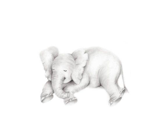Elephant wall Art print Nursery Wall Art Safari Animals Nursery Decor Sleeping Elephant Art Print Baby Elephant Print Elephant Art Gift