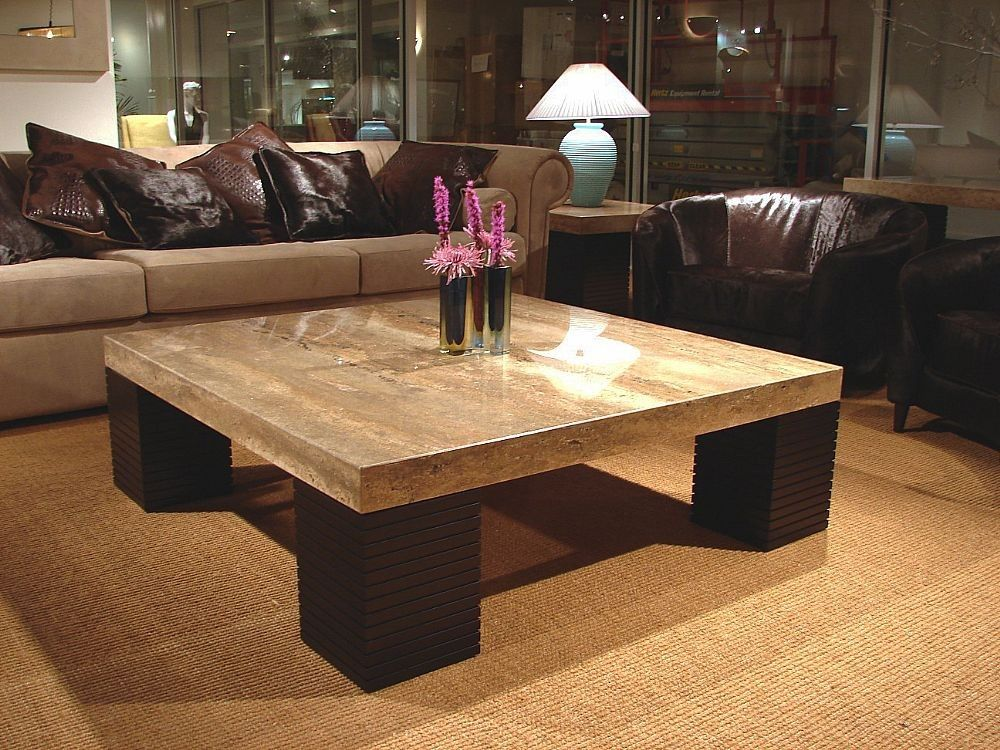 Stone International Square Cocktail Table with Wenge Base 8043