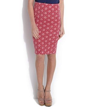 Red Pattern (Red) Red Daisy Pencil Skirt   249740869   New Look