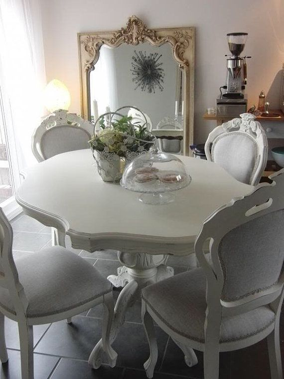 Shabby Chic French Style Dining Table And 6 Dining Chairs Shipping