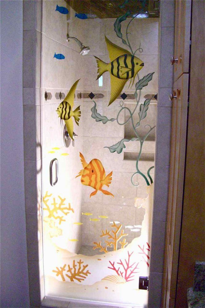 Aquarium 3d Glass Shower Doors Etched Glass Beach Style With