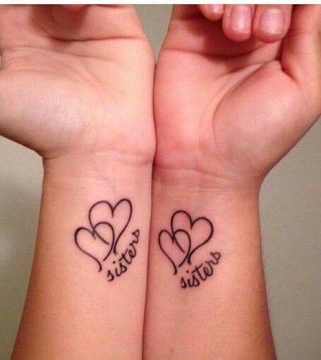 2 Hearts Sisters Tattoo Sister Tattoos Sister Heart Tattoos Matching Sister Tattoos
