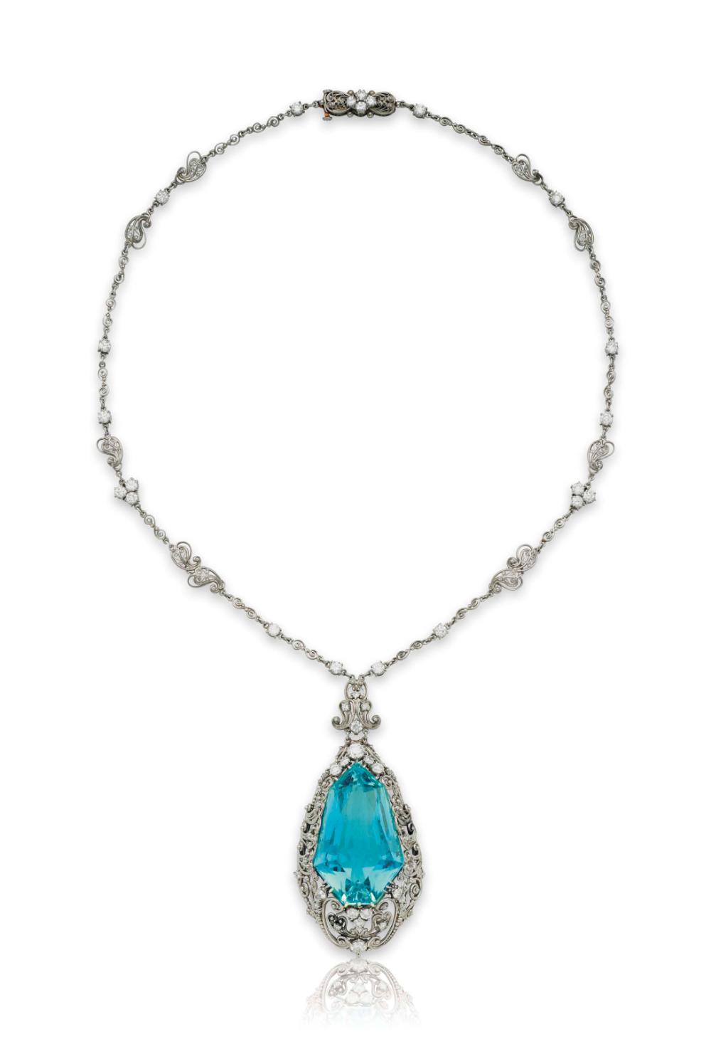Aquamarine And Diamond Pendant Necklace By Louis Comfort Tiffany Diamond Jewelry Necklace Diamond Pendant Beautiful Jewelry