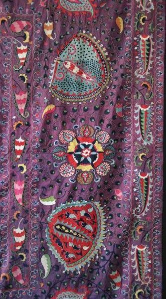 Detail of Lakai Suzani 11'4″ x 8'8″ circa 1800. Exhibitor James Cohen. Important London antique rug fair will open in a week