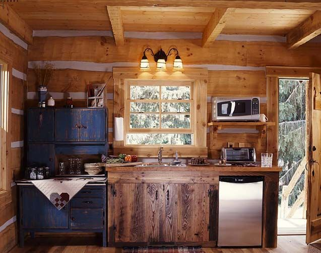 Small Cabin Interior Design Ideas image of stunning small one room log cabin plans using brown velvet loveseat under large film Small Log Cabin Kitchen Small Kitchenette In The Cabin With An Antique Hoosier Cabinet
