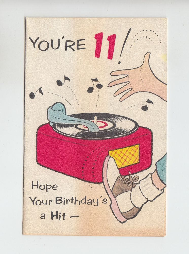 Vintage 11 Year Old Listening To Record Player Birthday Greeting Card