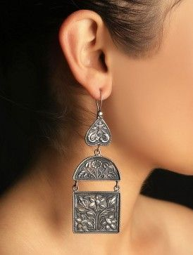 Mughal carved earrings #silver #earring #classic #jaypore