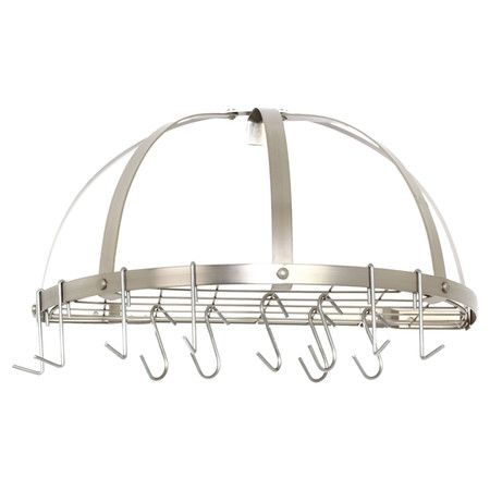 Highlighted By 12 Movable Hooks And A Satin Nickel Finish This Domed Steel Pot Rack Features A Shelf For La Pot Rack Pot Rack Hanging Wall Mounted Bookshelves