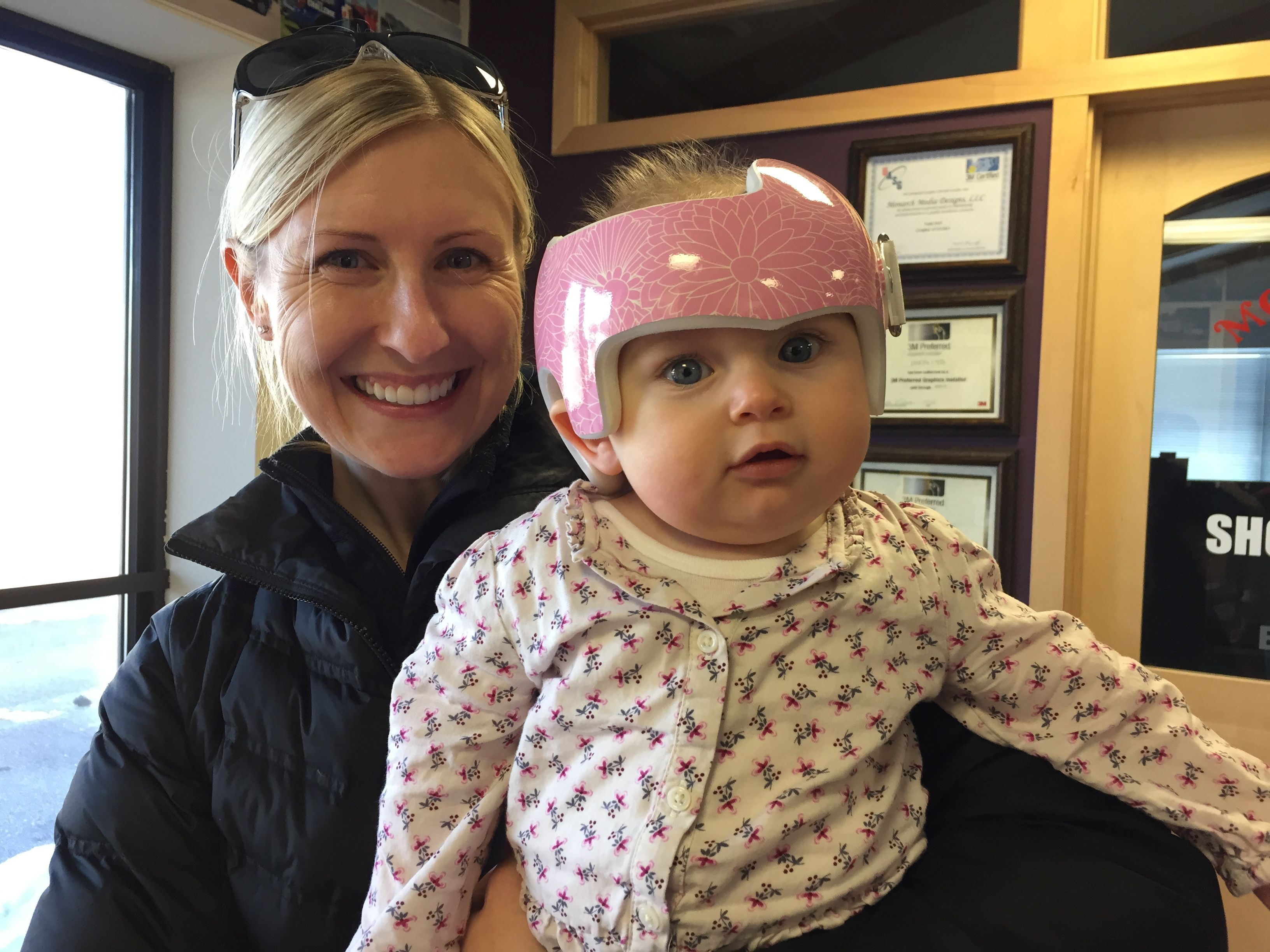 3e3ca595 Pink Floral Cranial Band Wrap   Lydia   Doc band wraps, Kids wraps ...