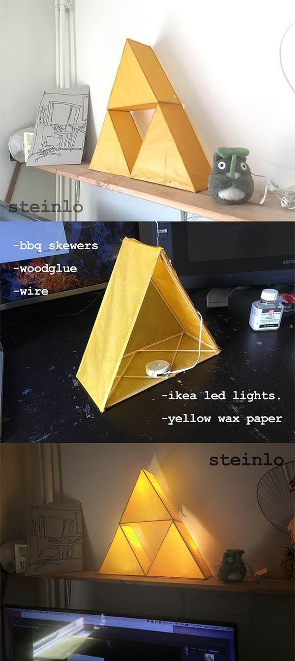 Zelda triforce lamp made out of wax paper xcm art pinterest