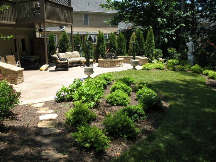 i like the combo of privacy trees on one side and open area on the ... - Landscaping Ideas Around Patio