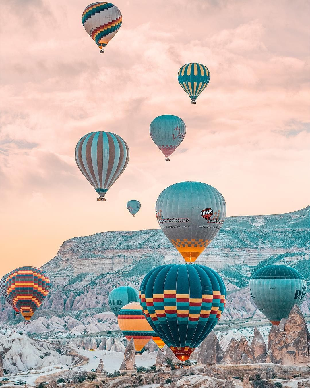 Beautiful hot air balloons floating over Cappadocia