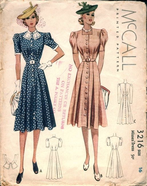 Pretty Vintage 1930s McCall 3216 Detailed Shirt-Dress Sewing Pattern ...