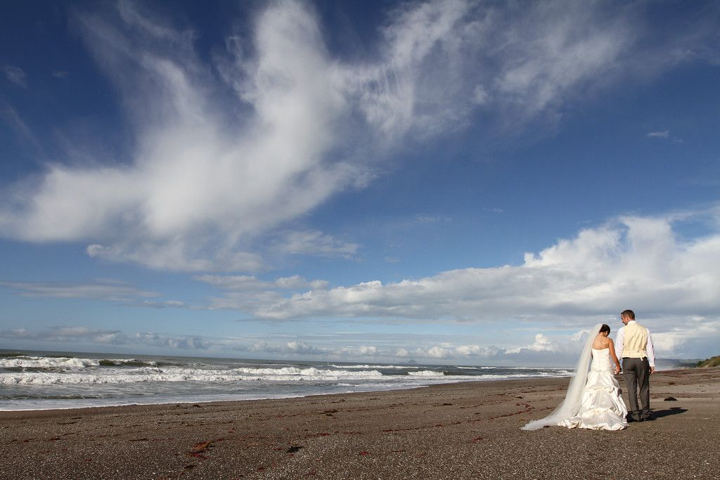 Bay of Plenty is a great place for wedding photography! So many unique spots to capture your special day! This shot is on Pukehina beach.