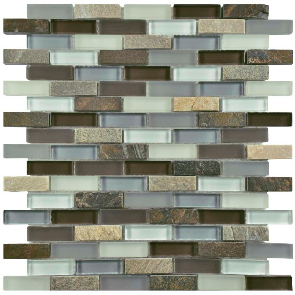 Merola Tile Tessera Subway Tundra 11 3 4 In X 11 3 4 In X 8 Mm Glass And Stone Mosaic Tile Multi Mixed Stone Mosaic Wall Mosaic Wall Tiles Stone Mosaic Tile