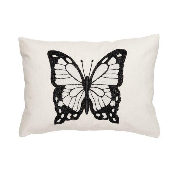 Butterfly Linen Pillow Center Beading