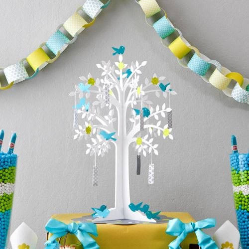 Baby shower diy wishing tree for Baby shower craft decoration ideas