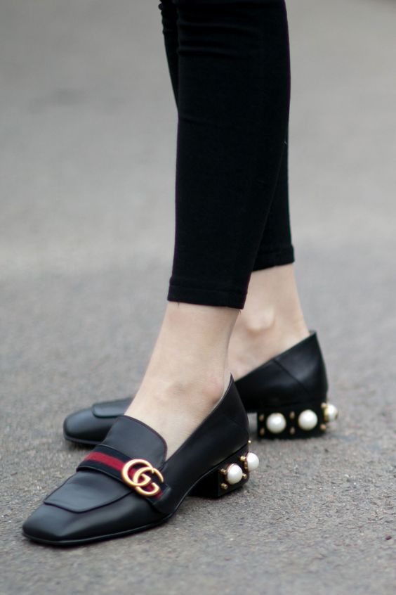 3ccbf5d82ec Gucci Loafers with studded pearl heels