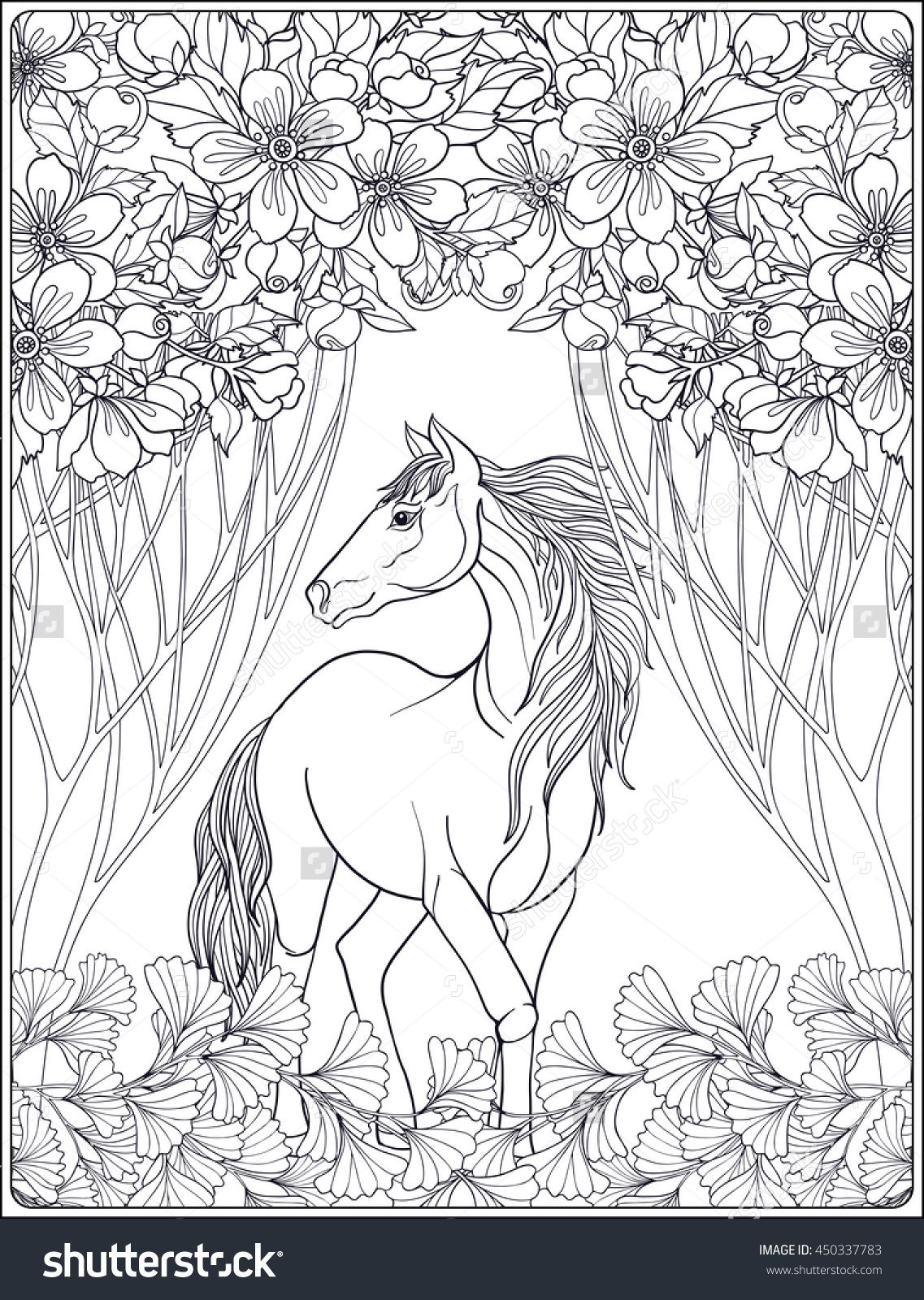Horse In The Forest Coloring Page For Adults Shutterstock 450337783 Horse Coloring Books Horse Coloring Pages Coloring Books