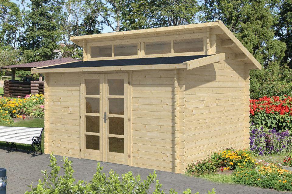 Modernes Gartenhaus mit Pultdach, Maße 400x340cm Q&S