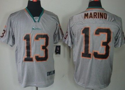 nike miami dolphins 13 dan marino lights out gray elite jersey