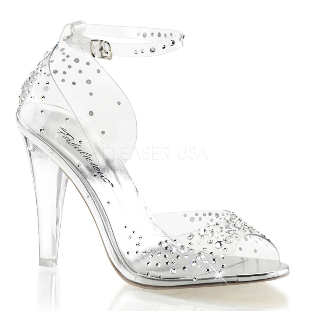 0e3670fc1ba3 Clear Glass Slippers Cinderella Bridal Wedding Prom Heels Shoes size 10 11  12  Fabulicious  PeepToe
