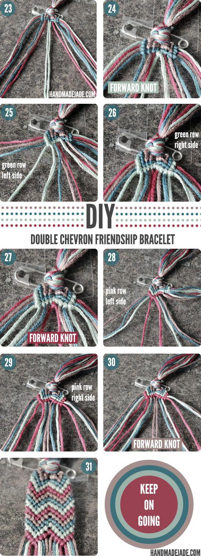 How to make chevron friendship bracelet - Diy 9 Double Chevron Friendship Bracelet D