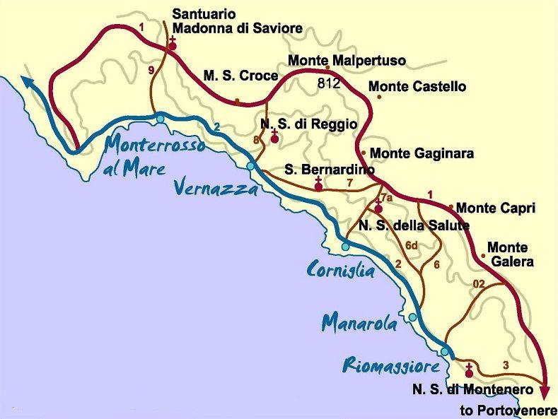 carte cinque terre italie Dans quel quartier loger à Cinque Terre ? | Cinque terre, Cinq