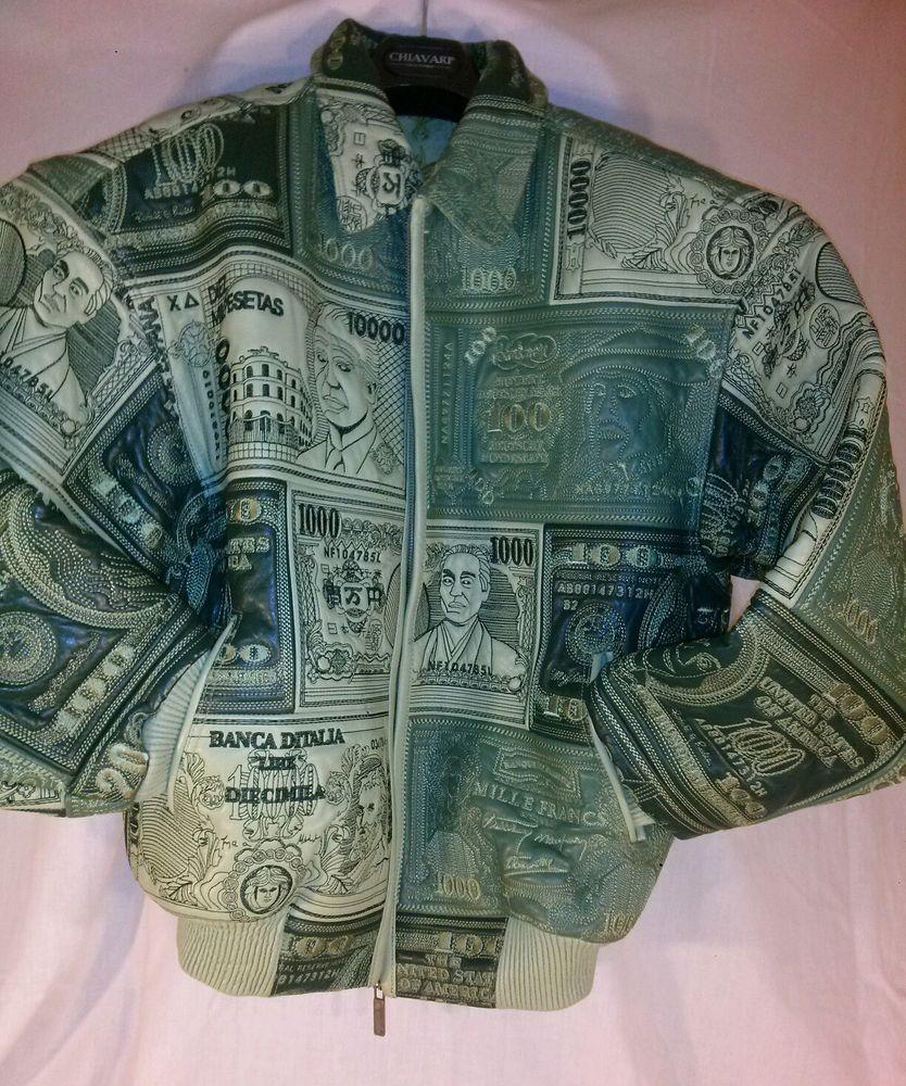 Vintage AL WISSAM leather green world currency money jacket.  Size: large. #AlWissam #FlightBomber