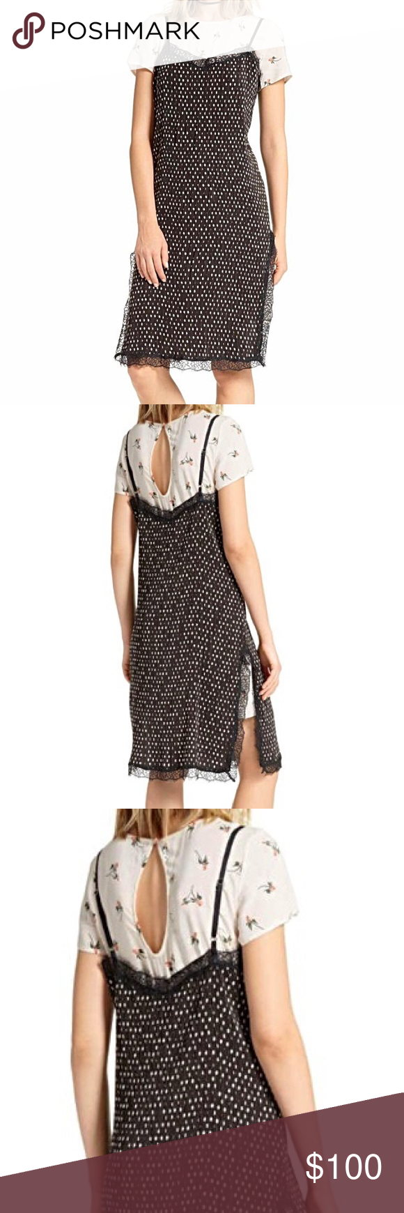 9788f781fffe NWT FREE PEOPLE Black Slip Dress. 2 in 1 Adorable Free People black polka  dot slip dress. It has a white floral under dress with keyhole back closer.