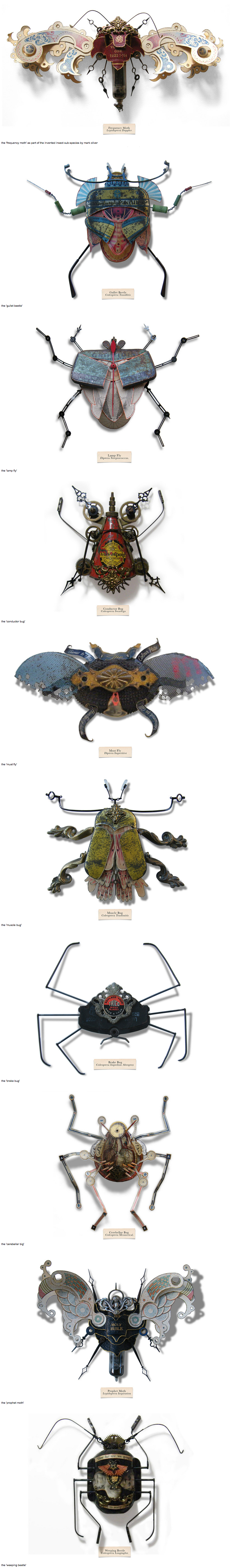 Litter Bugs, insect sculptures made out of found objects by British artist Mark Oliver. Each bug is named after the materials from which it was made (eg: watch parts were used to make the Time Fly)