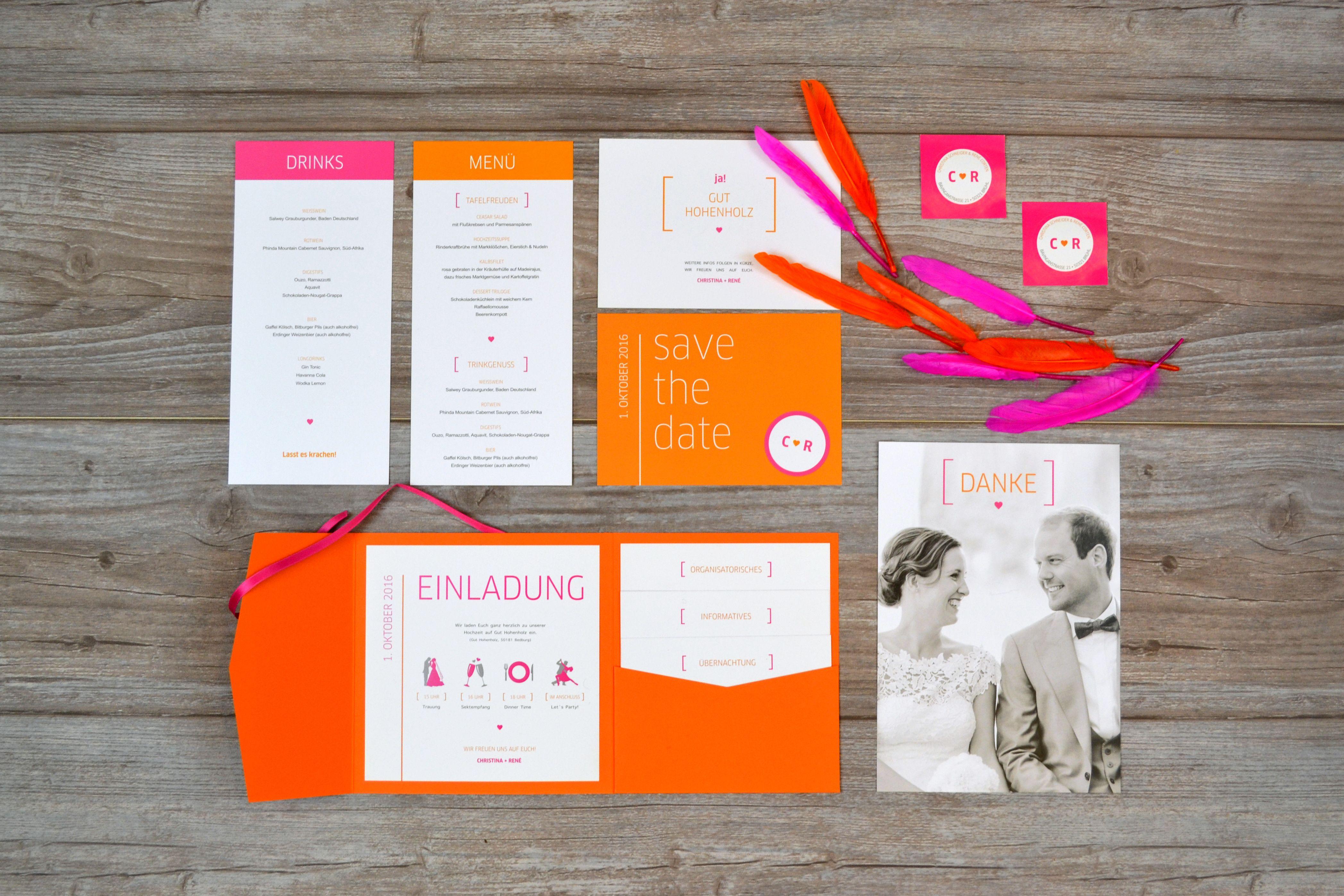 Hochzeitseinladungen Pocket Fold, Moderne Papeterie Für Eine  Scheunenhochzeit, Pink U0026 Orange, Einladung,