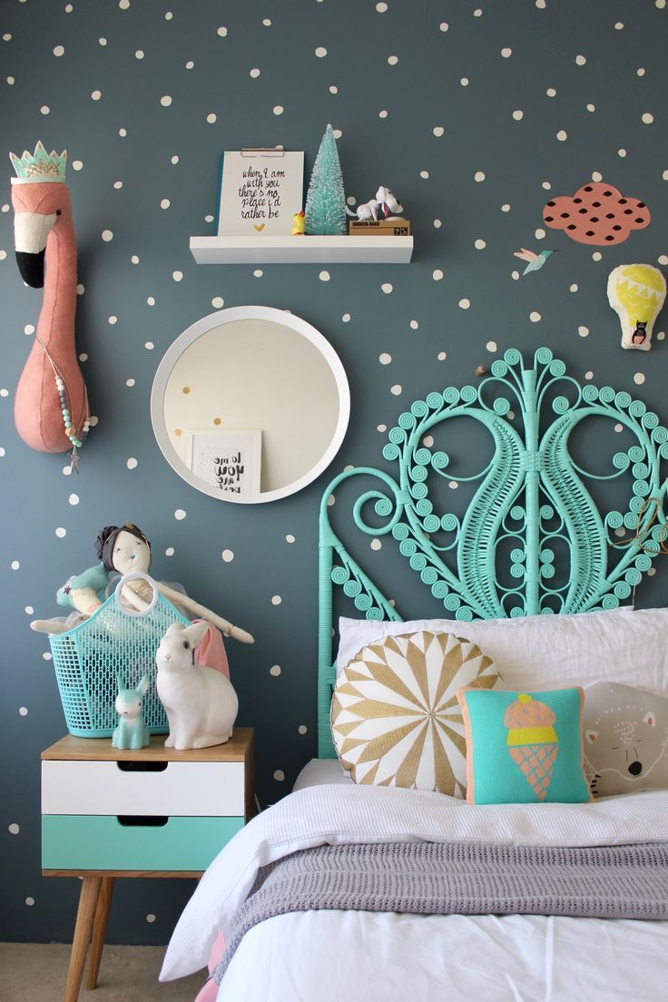 More Fun Childrens Bedroom Ideas For Girls On The Blog Using Mimilou Decals Colorful Kids Rooms Kids Bedrooms Vintage Kids Room Colorful Kids Room Girl Room