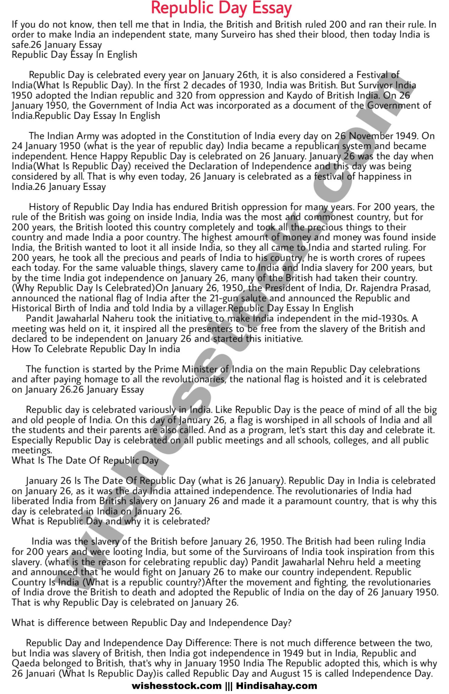 Republic Day Essay In English 26 January Speech Happy Birthday Wishes 9 11 9/11 Prompt Student Thesi Statement