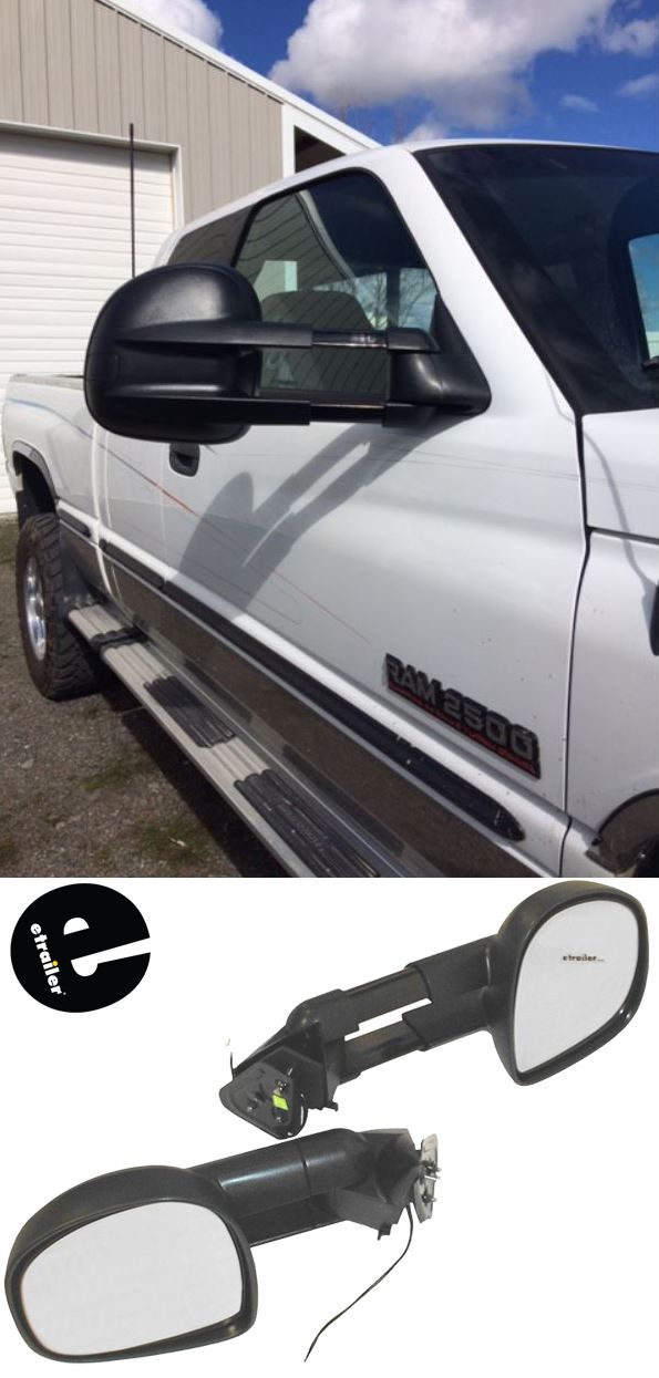 These Rounded Extendable Towing Mirrors Make A Great Replacement For The Factory Side View Mirrors On Your Dodge Ram Pickup Truck