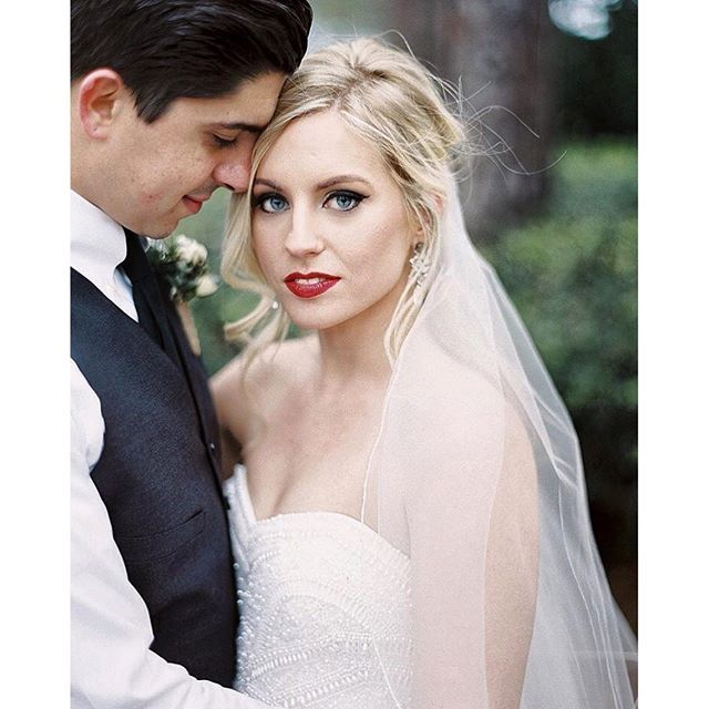 this bride's red lips are the perfect match for this @theiacouture beaded bodice. :lipstick::kiss: | #rp from the bride  @kendallgrace_