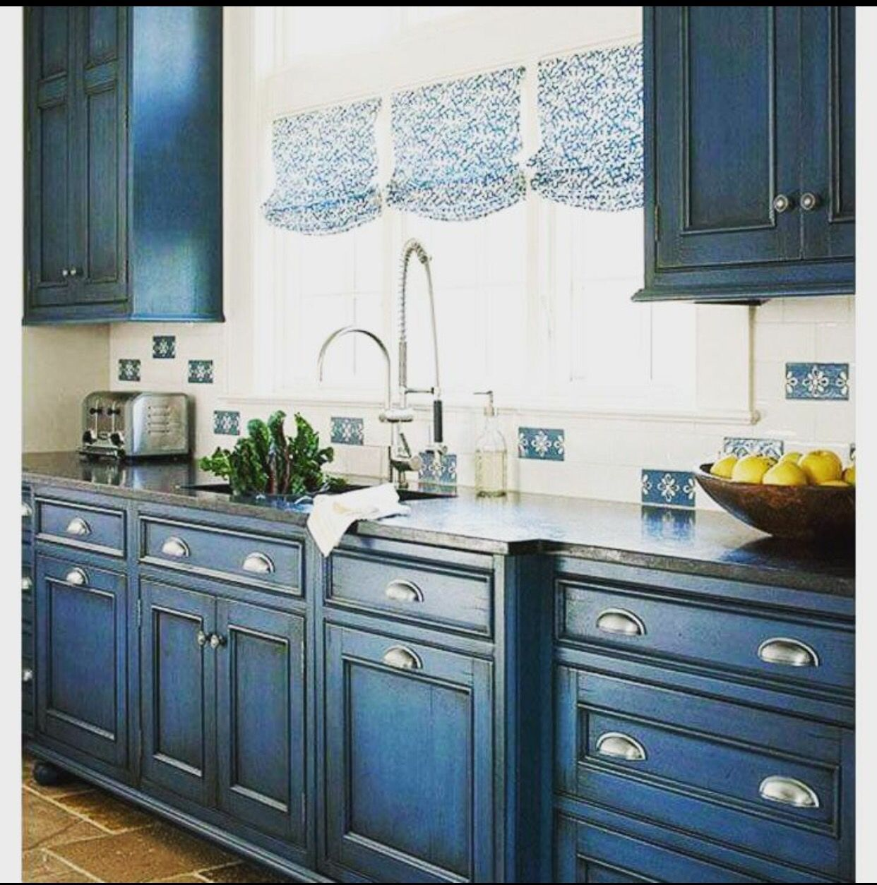 Pretty blue cabinets | Home | Pinterest | Color kitchen cabinets ...